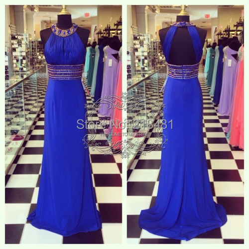 Real Picture Boutique Beading Halter Neck Key Hole Back Natural Waist Long Line Formal Dress Royal Blue Prom - Amy store
