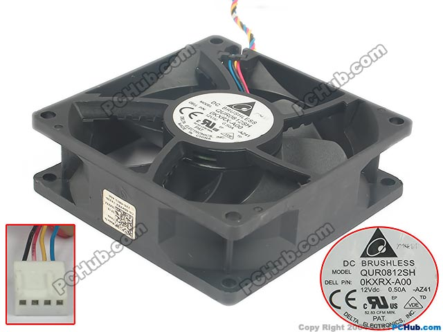 Delta QUR0812SH AZ41 DC 12V 0.50A 80x80x25mm Server Square fan
