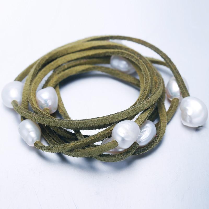 DAIMI 2019 Trendy 9 10mm perła baroku bransoletka bransoletka Zrób To Sam prezent na Boże Narodzenie dla pani w Bransoletki i obręcze od Biżuteria i akcesoria na  Grupa 1