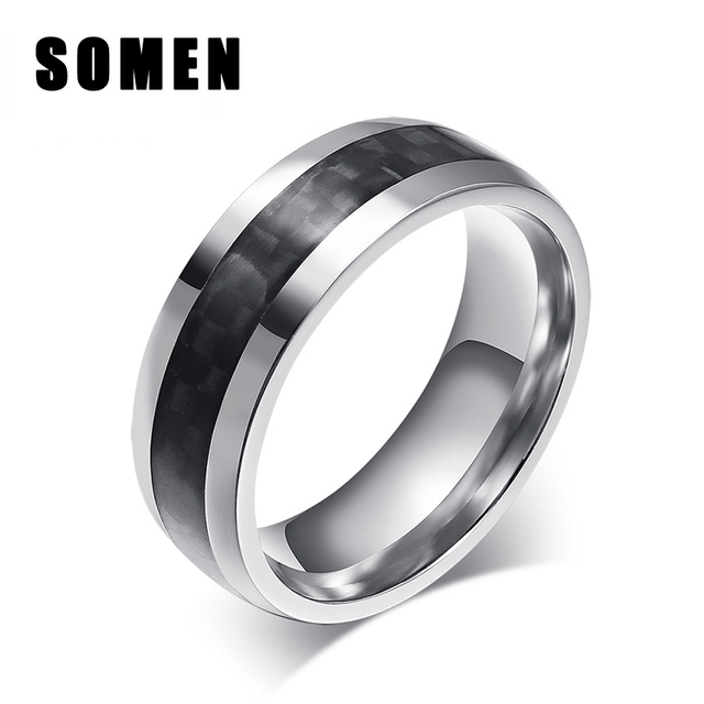 d12095cf0 Brand Men 8mm Black Carbon Fiber Titanium Rings Male Wedding Band  Engagement Ring Fashion Jewelry Never Fade Anti Scratch Anel