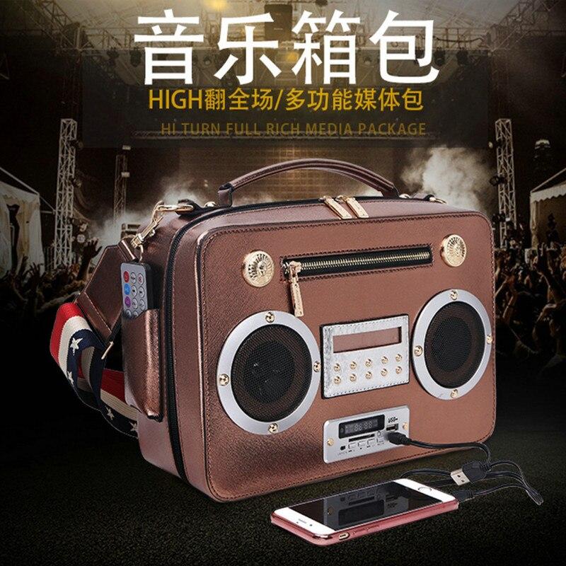 Nouvelle personnalité conception simulation chanter radio créative sac pour femmes portable Messenger sac support Bluetooth carte radio paquet