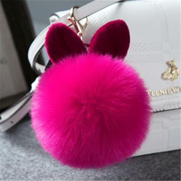 2017 Fur Pom Pom Keychain Fake Rabbit fur ball key chain porte clef pompom de fourrure pompon Bag Charms bunny keychain Keyring 45