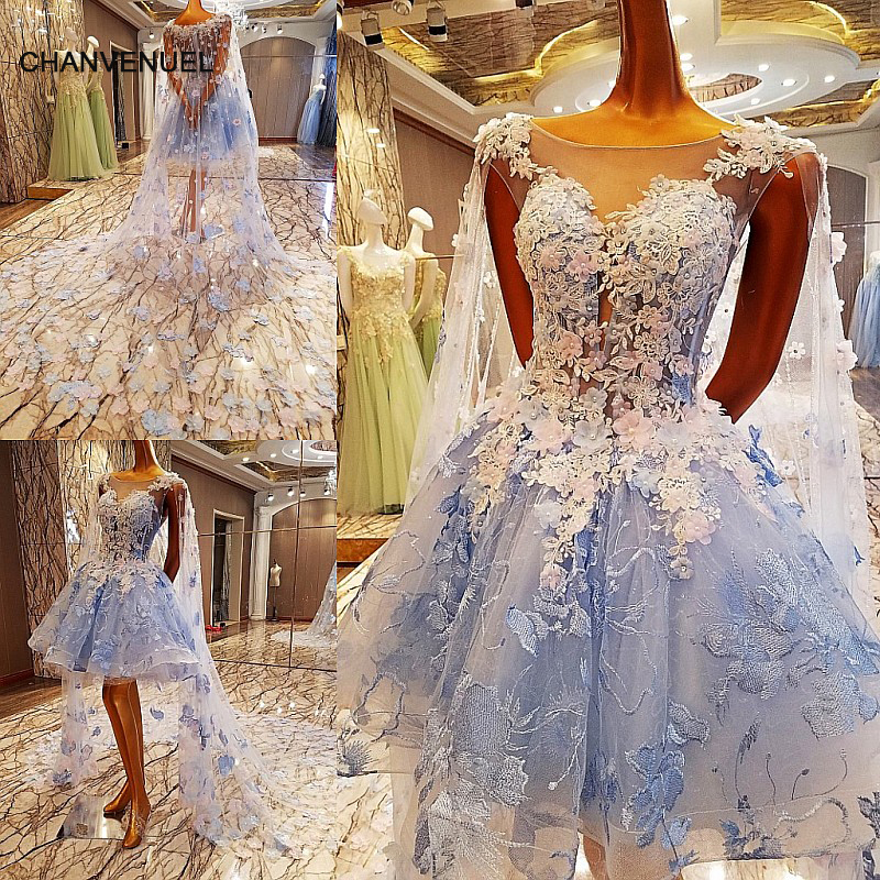 LS00084 short   evening     dress   with long cape ball gown long party formal   dress   robe de soiree abendkleider 2018 real photos