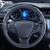 Shining wheat Black Genuine Leather Car Steering Wheel Cover for Toyota Highlander 2015 2016 2017 Sienna 2015 2017 Avensis