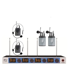 Frete grátis Sistema de Microfone Sem Fio ETJ U406 Microfone Profissional Dinâmico Canal 4 4 Fone de Ouvido + Microfone de Karaokê