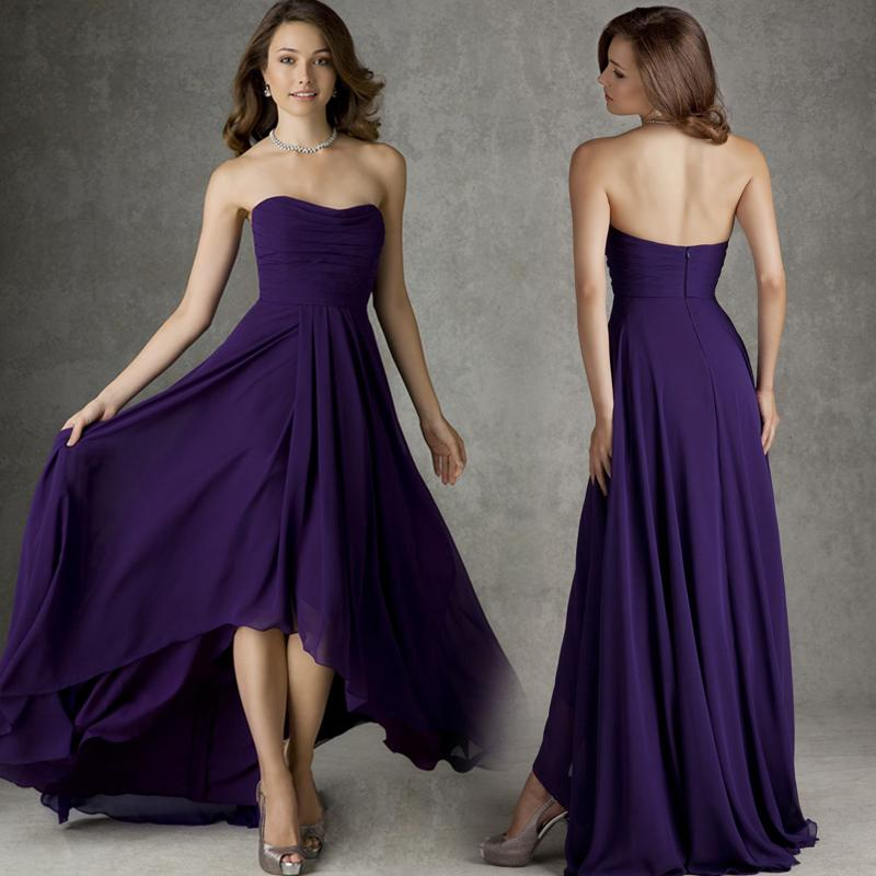 7ec45a228b92 Aliexpress.com : Buy 2016 New Arrival High Low Bridesmaid Dress Cheap A  line Strapless Pleats Regency Chiffon Dark Purple Bridesmaid Dresses  Weeding from ...