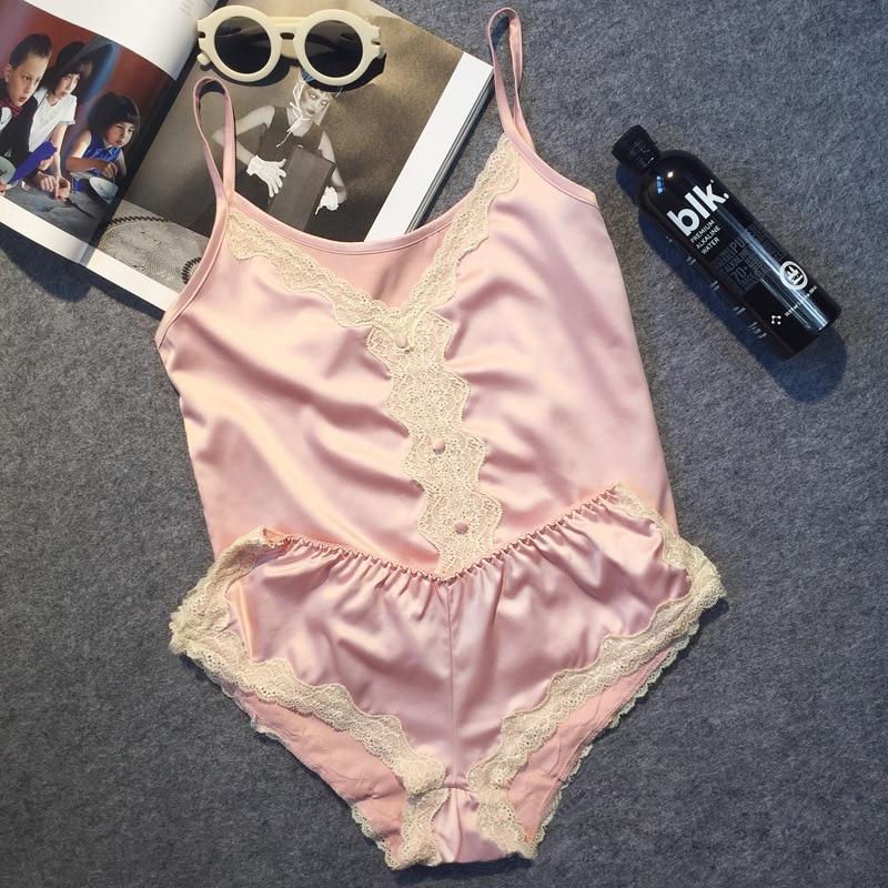 a993b1127b3b Большой бренд класса люкс имитация атласа Для женщин короткий набор пижамы  сексуальные кружевные пижамы костюм шелк