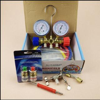 Air Conditioner Parts for Car Refrigerant Charging kit 536G Manifold for R22 R134 with quick joint fittings 3pcs durable high pressure 1 4 charging hose copper fittings mayitr for car automobile r12 r22 r502 air conditioner refrigerant