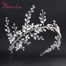 Bridesmaids Bride Tiara Crown Handmade Silver Leaf Wedding Headband Women Hair jewelry headpiece RE775
