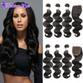 8A Malaysian Body Wave with Closure Lace Closure with Bundles Malaysian Virgin Hair with Closure Human Hair Bundles with Closure