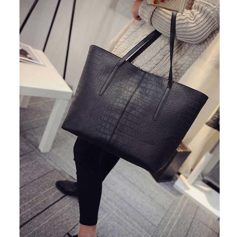 2019 большая новая женская наплечная сумка, кожа под крокодила женские кожаные сумочки повседневные женские сумки на молнии известные брендовые сумки с короткими ручками черного и красного цвета