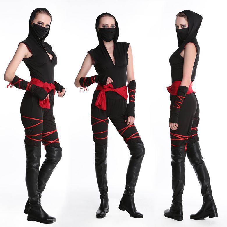 halloween sexy ladies female ninja costume cosplay fancy dress for carnival top pants belt. Black Bedroom Furniture Sets. Home Design Ideas