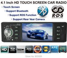 """Автомобильные cd Радио MP3 MP4 Player 4.1 """"Сенсорный TFT HD экран 12 В Автомобиль Аудио система RDS/FM/USB/SD/AUX Поддержка Камеры Заднего Вида Bluetooth"""