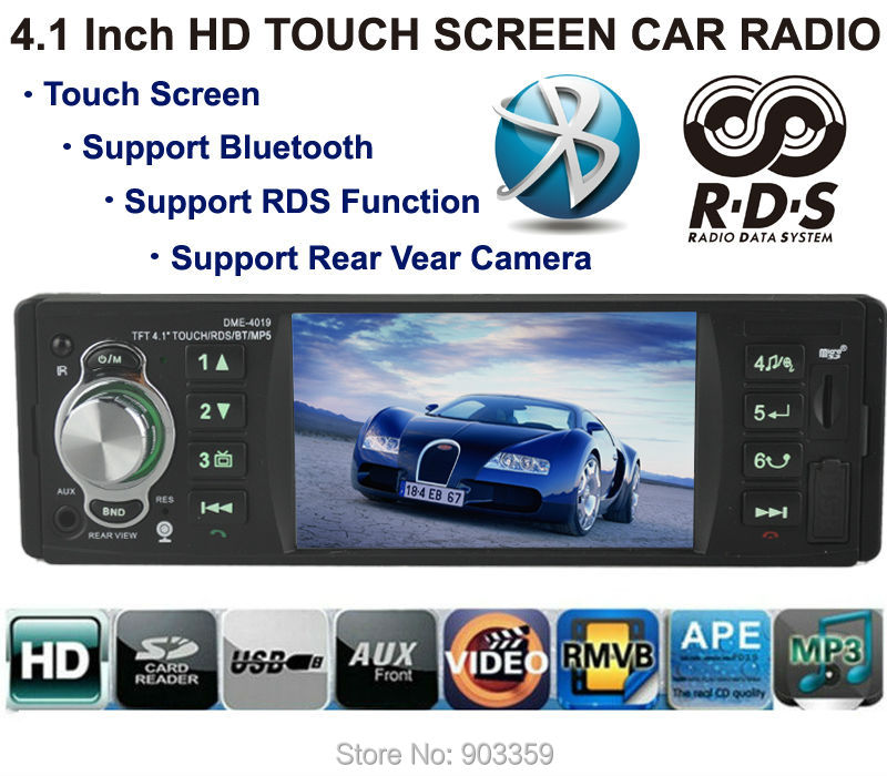 Car Stereo Radio MP3 MP4 Player 4.1'' HD Touch TFT screen 12V Car Audio RDS system/ FM/USB/SD/AUX Support Rear Camera Bluetooth 2015 new support rear camera car stereo mp3 mp4 player 12v car audio video mp5 bluetooth hands free usb tft mmc remote control