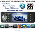 Rádio Estéreo do carro MP3 MP4 Player 4.1 ''HD TFT Touch tela 12 V Áudio Do Carro sistema RDS/FM/USB/SD/AUX Apoio Câmera Traseira Bluetooth