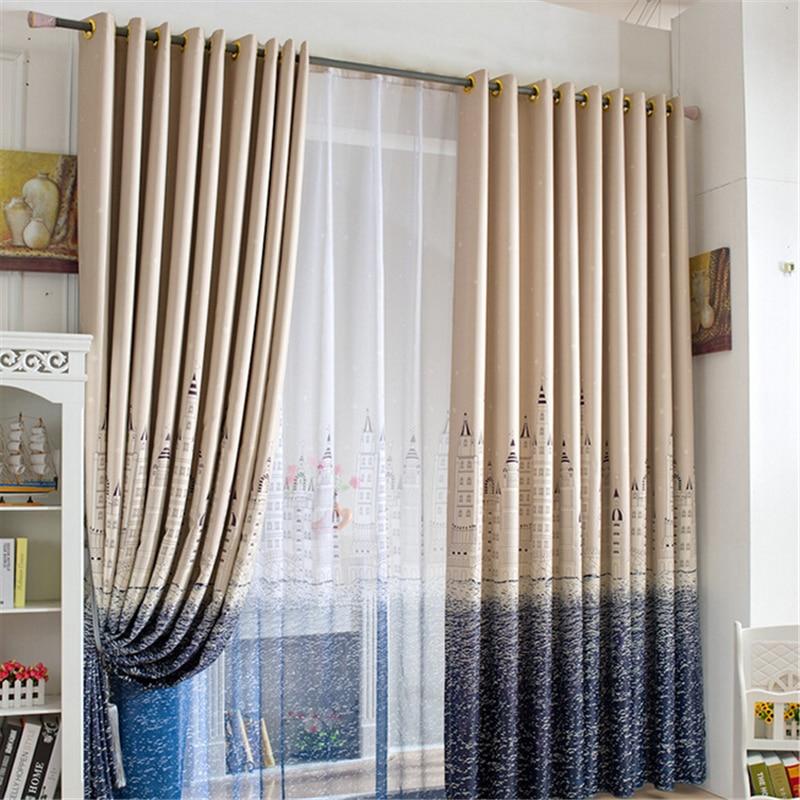 Castle Blackout Kids Bedroom Curtain Bay Window Decoration Sheer Voile Living Room Decorative