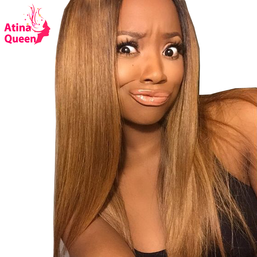 27 Honey Blonde Human Hair Wigs Brazilian Straight Lace Front Human Hair Wigs for Women Remy