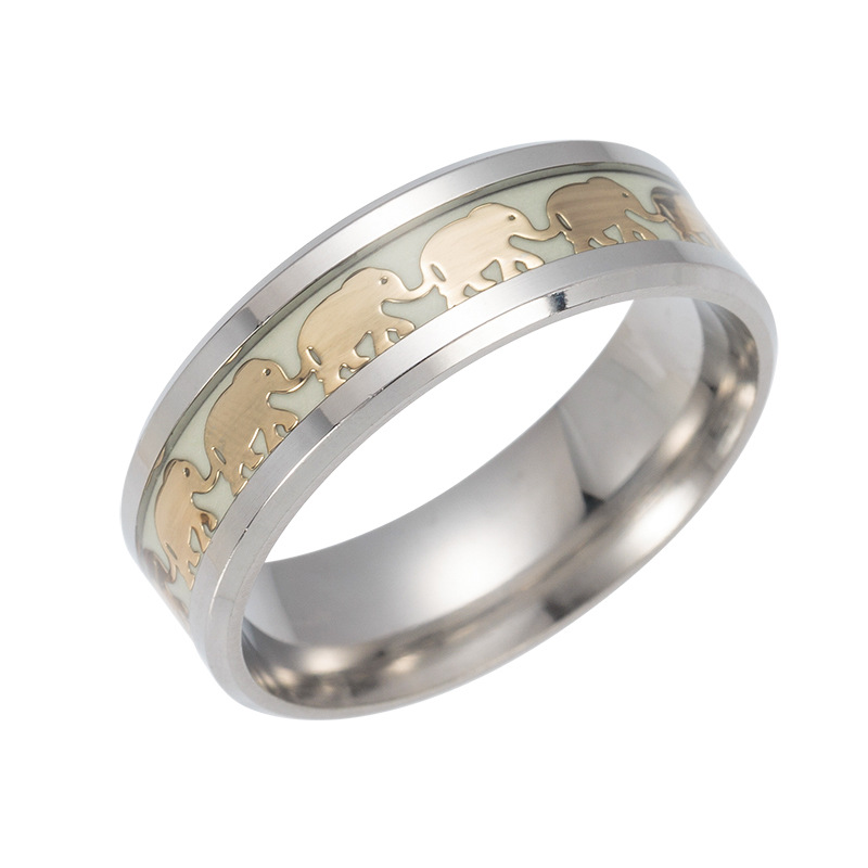 Bohemia Luminous Ring Men Gold Elephant Pattern Glow in the Dark Rings for Women Stainless Steel Wedding Ring Party