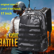 Купить с кэшбэком Camouflage PUBG Level 3 Backpack USB Headphone Jack Boy School bag Women Men Anti Theft Bagpack Teenagers Student Schoolbags