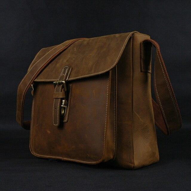 1eca38963802 2017 Vintage Crazy Horse Leather men Messenger Bag Genuine Leather Shoulder  Bag men crossbody bag sling Leisure Bag Casual Brown