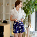 Original New 2016 Brand Short Zippers Slim Vintage Casual High-Waisted Navy Blue Printed Summer Shorts Women Wholesale