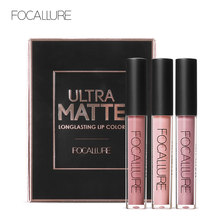 FOCALURE 3 pièces longue durée lèvres couleurs maquillage étanche teinte brillant à lèvres rouge velours Ultra Nude mat rouge à lèvres coloré(China)