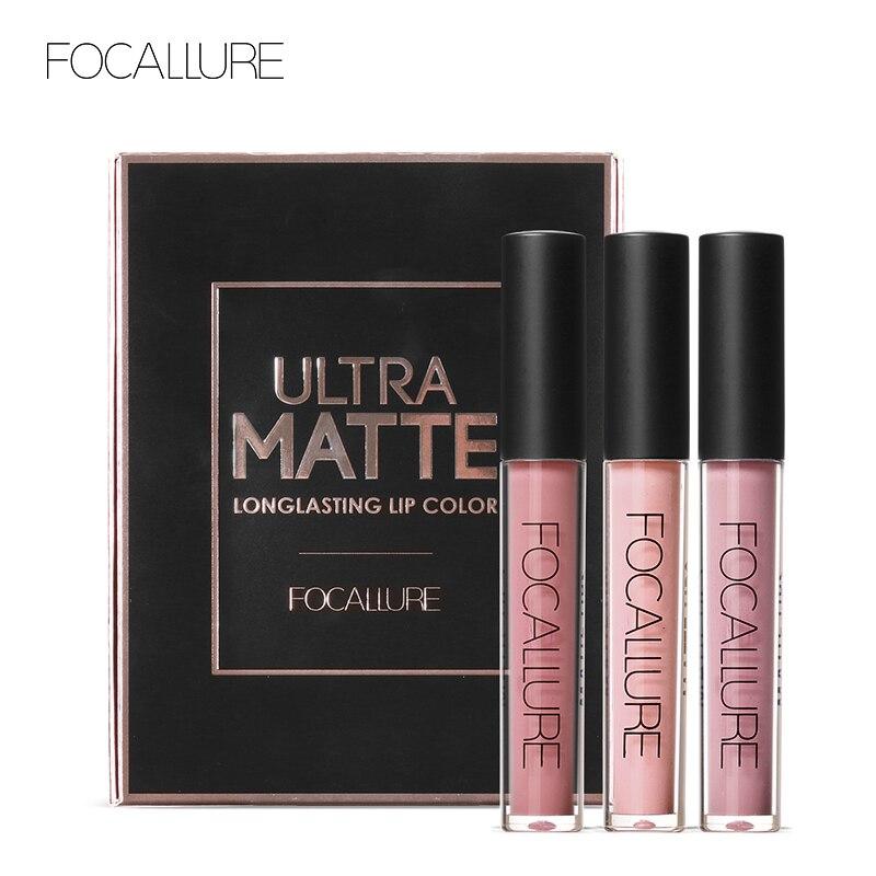 Focalure 3 pçs de longa duração labial cores maquiagem impermeável matiz labial gloss vermelho veludo ultra nude batom fosco colorido