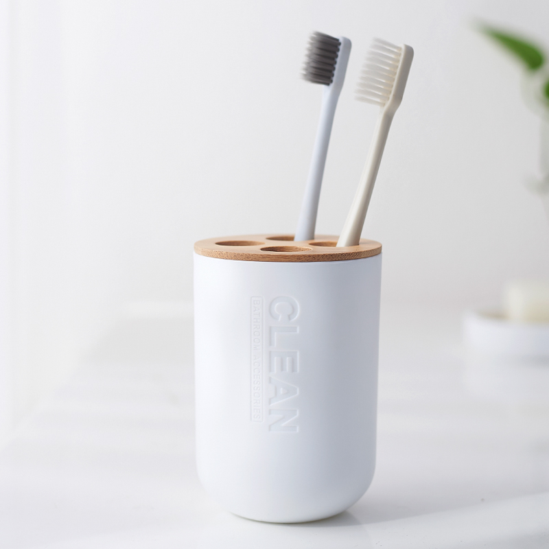 Multifunctional Plastic Toothbrush Cup With Bamboo Wood Toothbrush Holder Brush Holder Bathroom Accessories