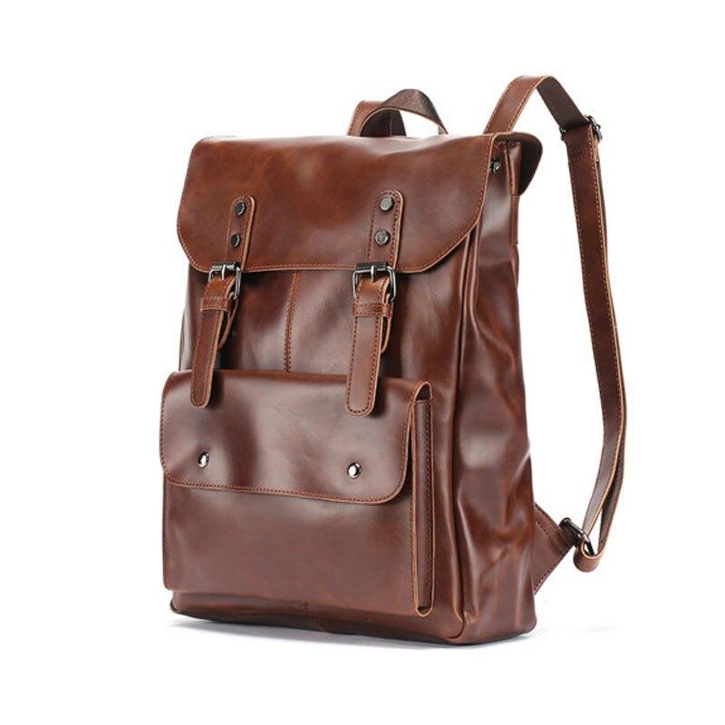 Vintage Men Hasp Backpack England Style Fashion Retro Leather Backpacks Black