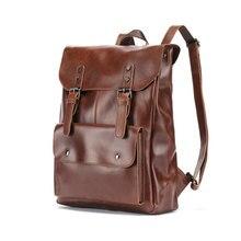 Новый Винтаж для мужчин рюкзак с застежками Англия Стиль Мода Ретро Crazy Horse кожа рюкзаки сумка Mochila мужской Bolsa Sac