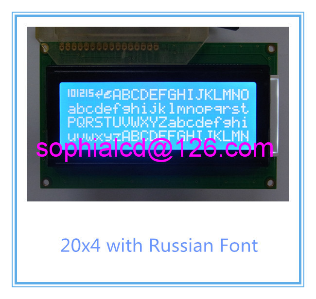 Free shipping 2pcs Russian cyrillic font Language 20x4 204 2004A lcd display module blue professional lcd