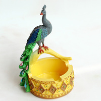 Creative Peacock Ashtray Southeast Asian Style Coffee Table Decorations Mini Resin Craft Animal Display