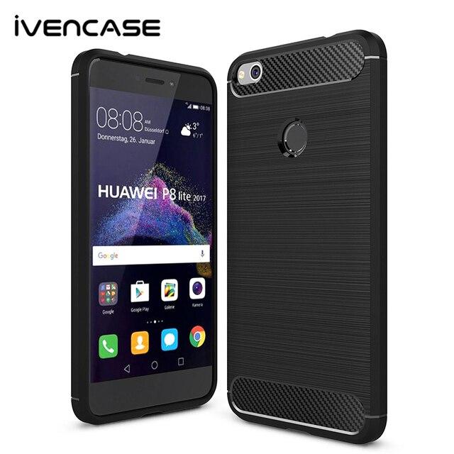 Huawei p8 lite 2017 caseフル保護炭素繊維起毛ソフトシリコンtpu case裏表紙用huawei p8 lite 5.2インチ