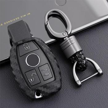 Carbon Fiber Car Key Cover Key Fobs Protect Skin Shell Case Keychain For Mercedes Benz W203 W204 W212 CLK C180 E200 AMG C E image