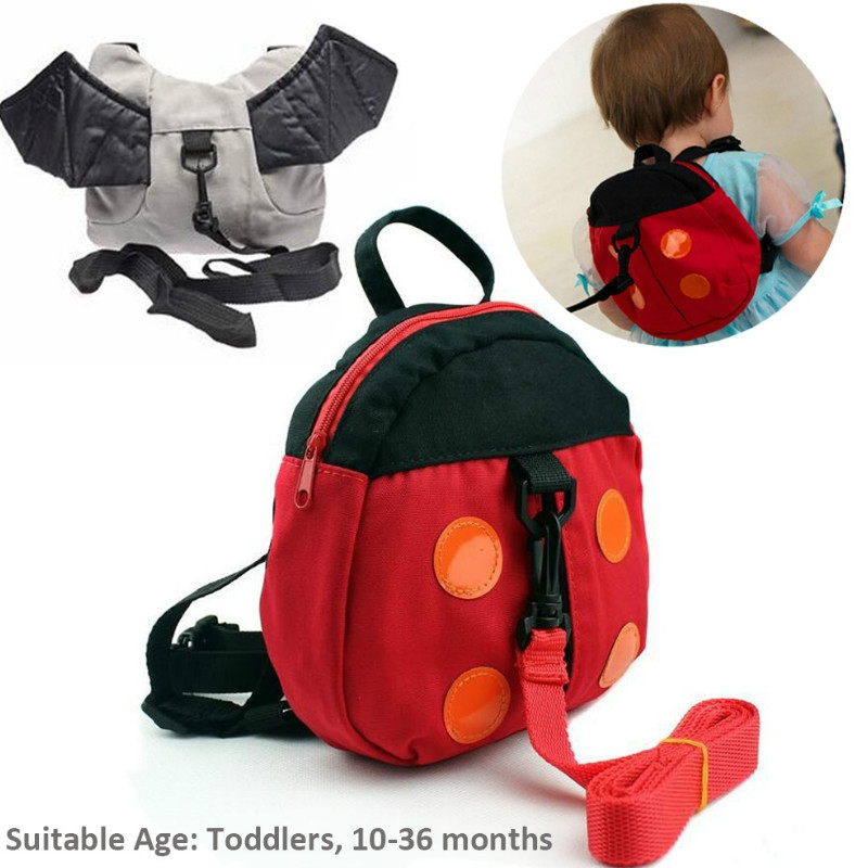 Children's Cartoon Backpack Cute Bat Ladybug Bag Baby Toddler Anti Lost Harness Strap Walker Leashes Kids Kindergarten Schoolbag