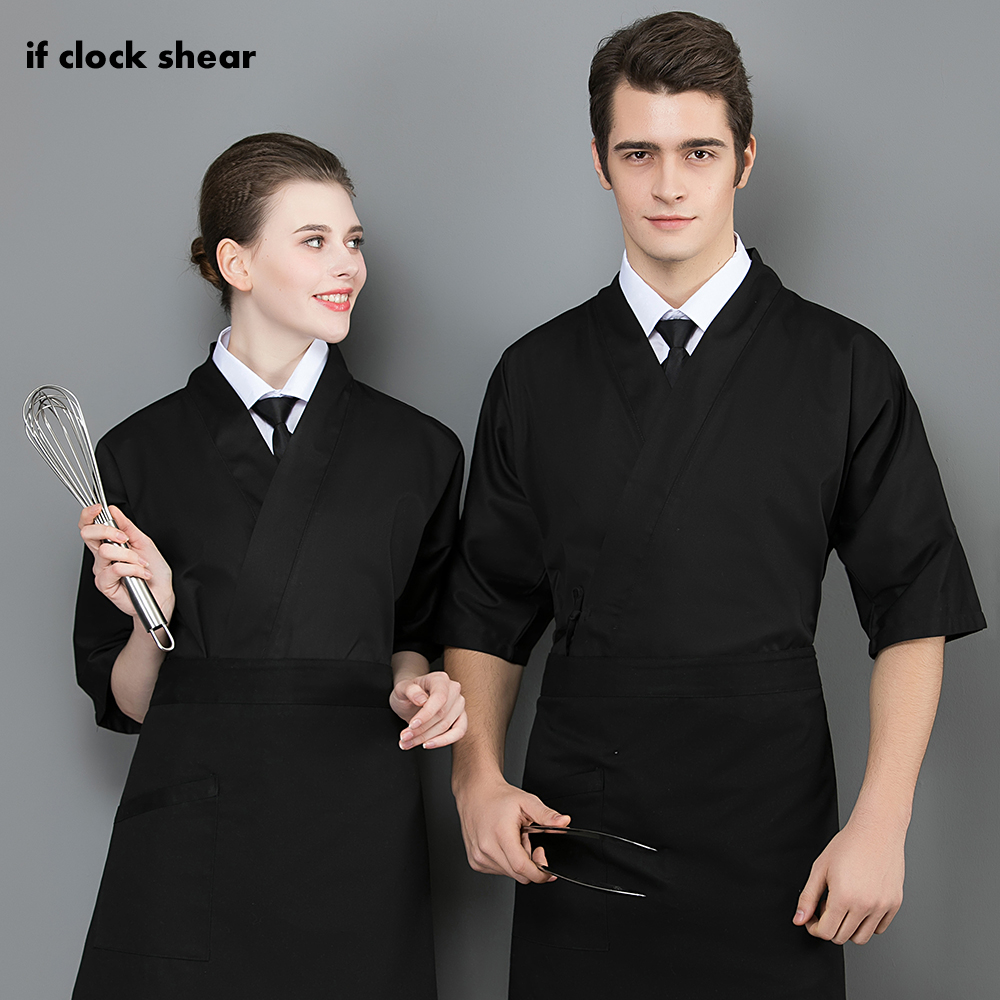 Unisex Food Service Cooker Shirt Short Sleeved Restaurant Hotel Kitchen Chef Uniform Japanese-style Chef Jacket Sushi Uniform
