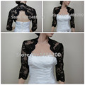 2016 New Black Lace 3/4 Sleeve Bolero Jacket Shrug Wedding Wraps Keyhole Back Evening Party Shawl Bridal Accessories Custom Made