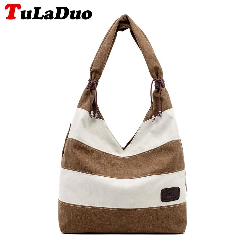 все цены на 2018 Fashion Stripe Patchwork Hobo Bags Women Canvas Shoulder Bags Casual Designer Handbags High Quality Big Women Bag Large Sac