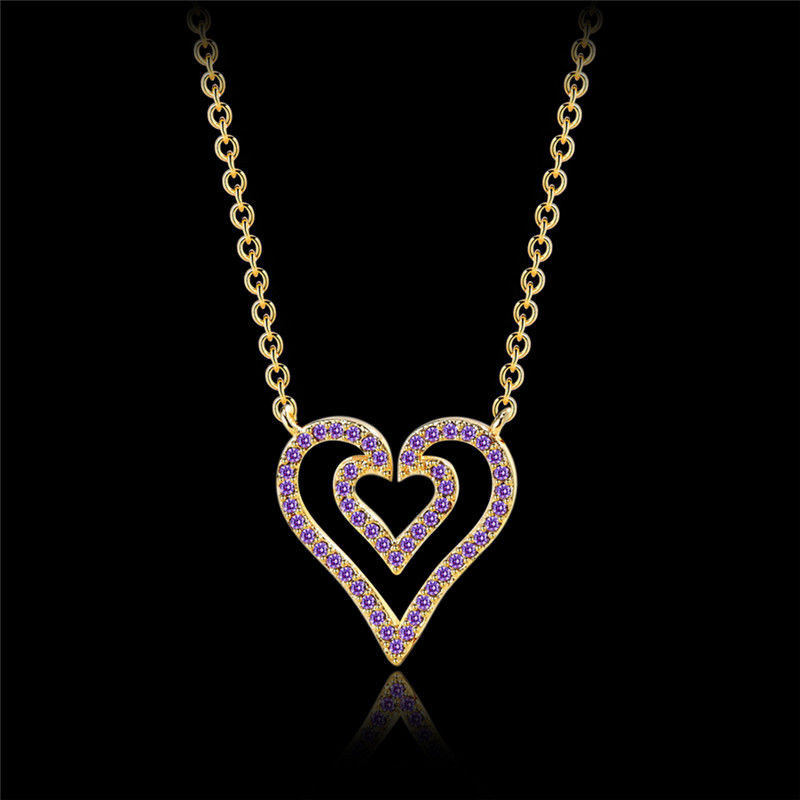 TJP Fashion Female Zircon Purple Heart Pendants Necklace Jewelry Hot Double Layer Heart Necklace For Women Accessories Shining in Pendant Necklaces from Jewelry Accessories