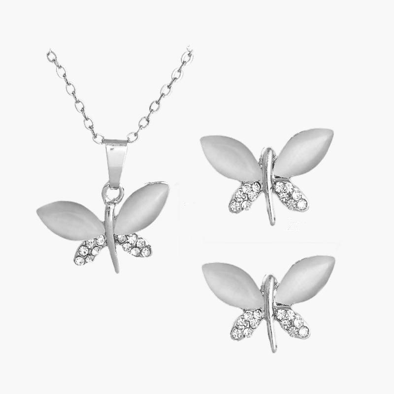 SHUANGR pierre naturelle opale papillon ensembles de bijoux pour les femmes or-couleur chaîne Champagne pendentif collier boucles d'oreilles bijoux femme 5