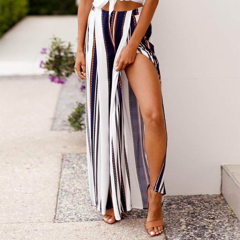 Women   Pants   Summer Beach Chiffon Elastic High Waist   Wide     Leg     Pants   Split Striped Womens Trousers Casual   Pants   Pantalon Femme