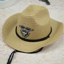 Verano hombres Toro insignia vaquero paja Sunhat con cuerda Jazz sombreros  occidental con ala ancha sol 6a15e542d02