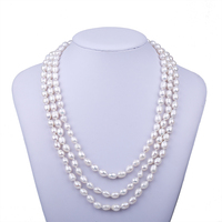 Multilayer Real Natural Rice Freshwater Pearl Chokers Necklaces Femme European Noble Queen Wedding Jewelry Necklace For