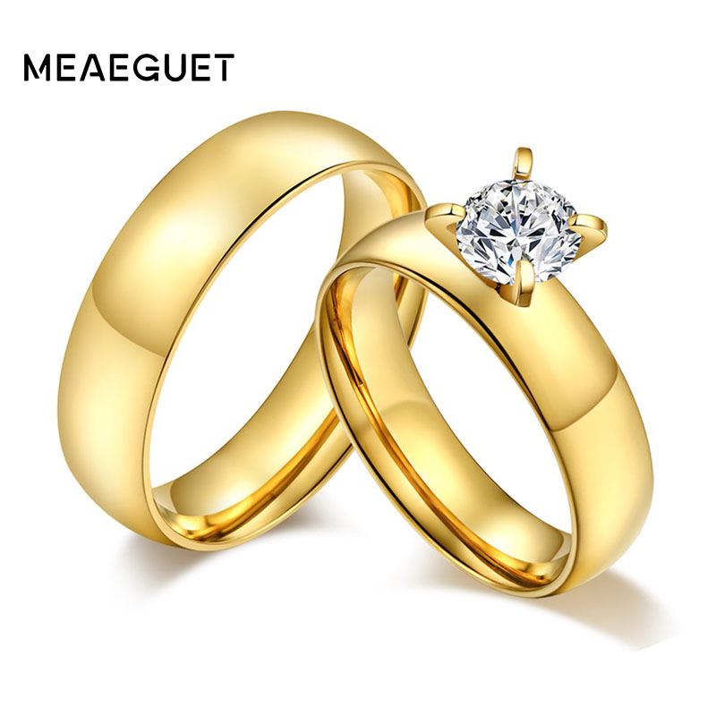 Meaeguet Engagement Lovers Ring Stainless Steel CZ Couple Rings for Women Valentine Love Wedding Jewelry