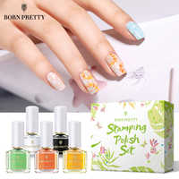 BORN PRETTY 5 Bottle Stampping Polish Set Spring Summer Series Stamp Plates Polish Lacquer for Template Print Oil Kit