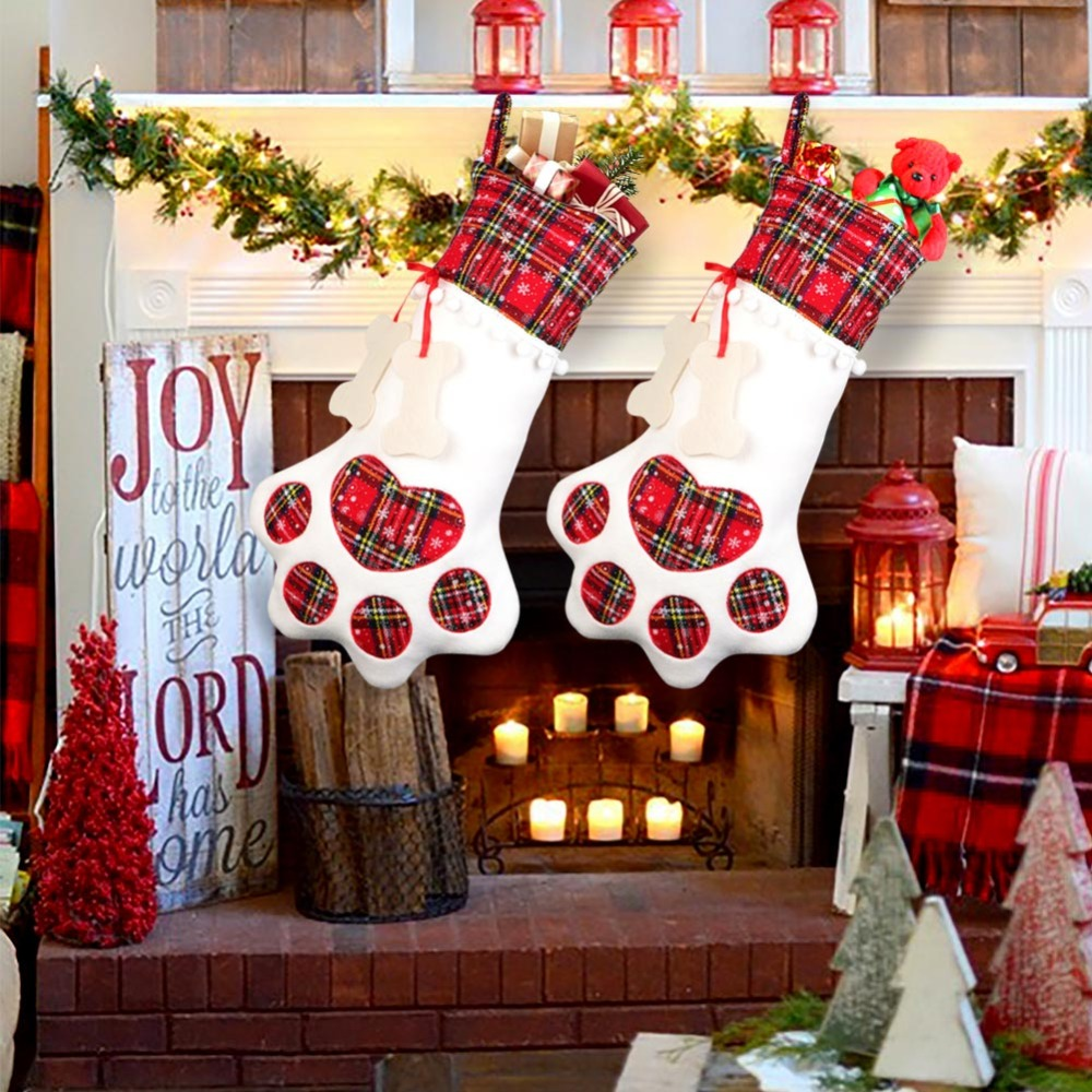 OurWarm Big Sequin Faux Fur Christmas Stockings Gift Bag Snowman Deer Mini Sock Cutlery Bag Holder Christmas Tree Ornaments in Stockings Gift Holders from Home Garden