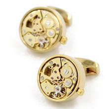 Letpon Functional Watch Cufflinks Gold Round  movement cufflinks men's fashion cufflink Gift cuff links wholesale Free Shipping