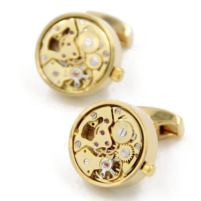 Letpon Functional Watch Cufflinks for mens Gold color plating Round movement cufflinks fashion men shirt cuffs