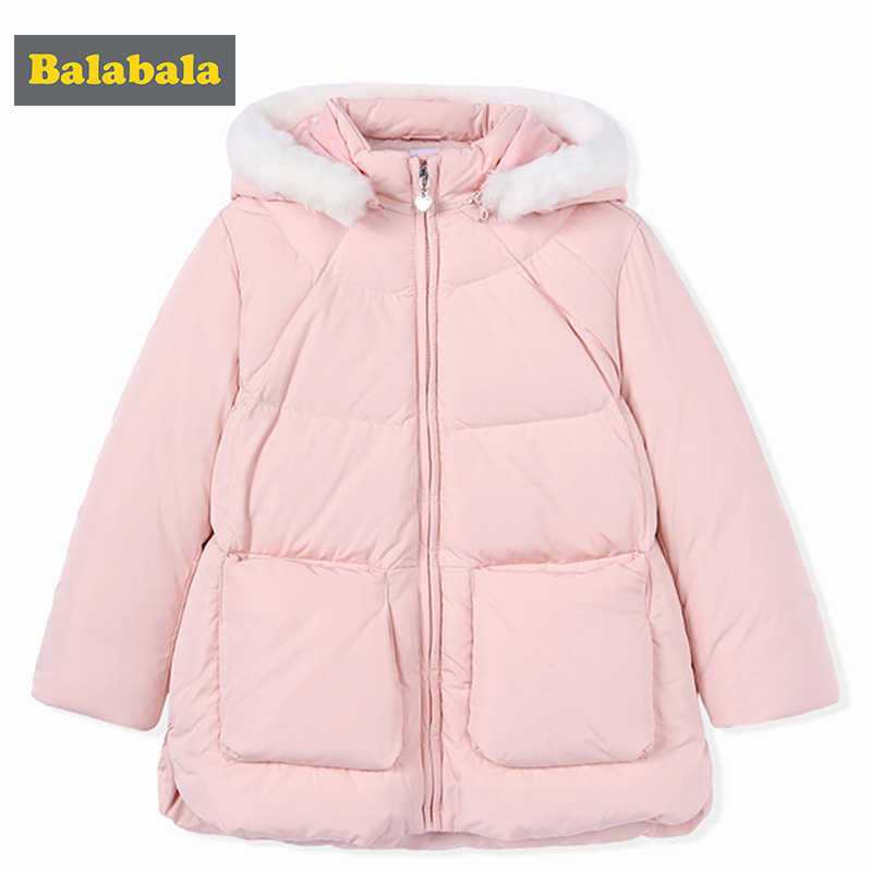 Bababala girls winter down coat jackets 90% white duck clothes mid-long style pink blue warmth jacket for girl children