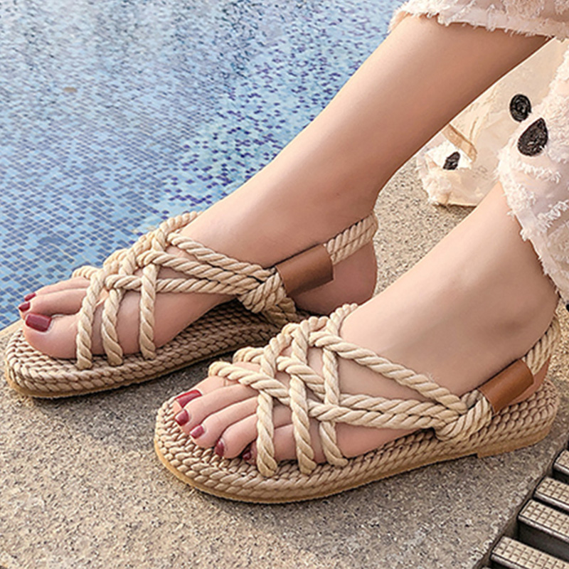 Gladiator Rope Sandals Womens Summer Shoes 2019 New Beach Shoes Women Sandals Platform Sandals Slides Flip Flops buty damskieGladiator Rope Sandals Womens Summer Shoes 2019 New Beach Shoes Women Sandals Platform Sandals Slides Flip Flops buty damskie